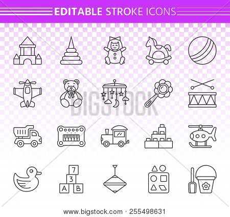 Baby Toy Thin Line Icons Set. Outline Web Sign Kit Of Children Play. Kids Game Linear Icon Collectio
