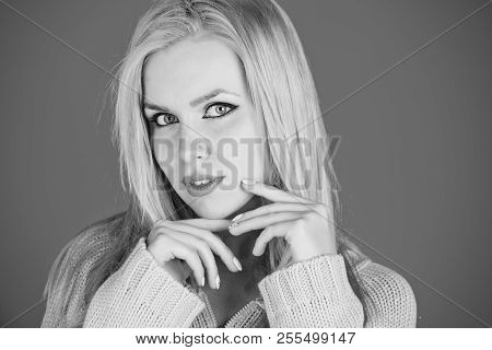 Cute Girl Or Pretty Woman With Adorable Face, Stylish Makeup And Blond, Long, Soft, Dry, Dye Hair, H