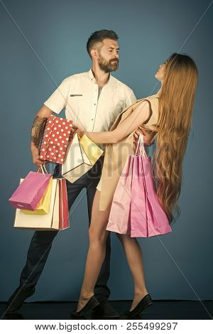 Black Friday, Happy Holiday, Relations. Shopping And Sale. Girl And Bearded Man Hold Present Pack, C