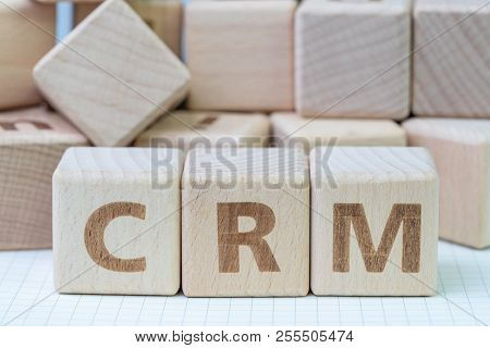 Crm, Customer Relationship Management Concept, Cube Wooden Block With Alphabet Combine The Word Crm,