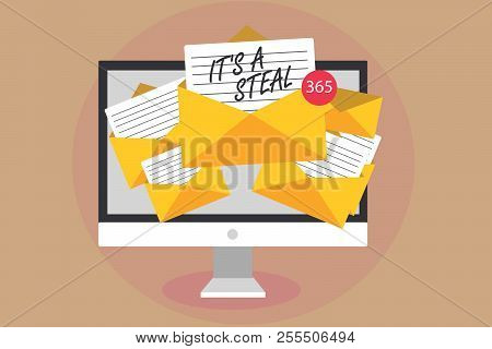 Word Writing Text It S Is A Steal. Business Concept For Getting Confidential Informations Cyber Brea