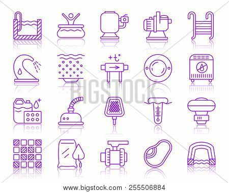 Swimming Pool Equipment Thin Line Icons Set. Outline Vector Sign Kit Of Construction. Repair Linear