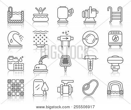 Swimming Pool Equipment Thin Line Icons Set. Outline Sign Of Construction. Repair Linear Icon Collec