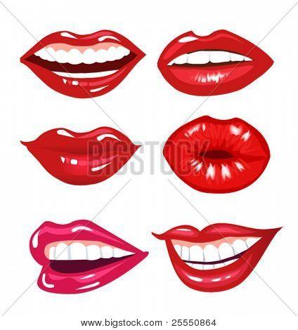 set of vector lips