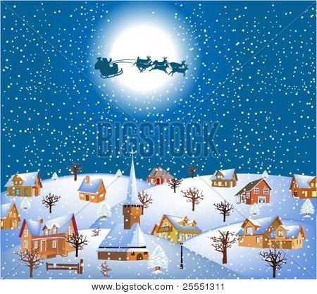 christmas night with santa and his reindeer