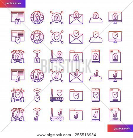Internet Security Color Line Icons Perfect Pixel. Use For Website, Template,package, Platform. Conce