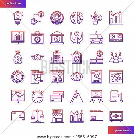 Banking And Financial Color Line Icons Perfect Pixel. Use For Website, Template,package, Platform. C