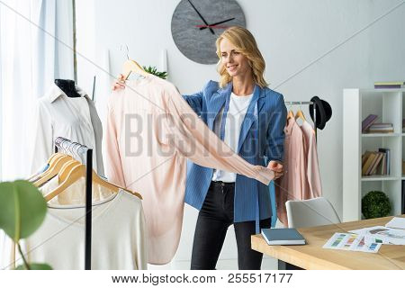 Successful Fashion Designer. Attractive Young Happy Casual Trendy Caucasian Blonde Fashion Designer
