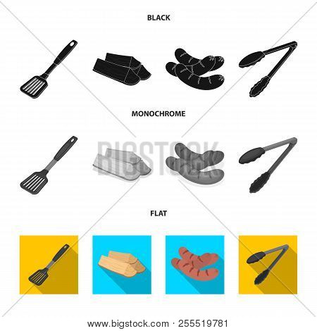 Blade Kitchen, Firewood, Sausages And Other For Barbecue.bbq Set Collection Icons In Black, Flat, Mo