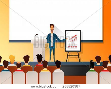 Business Seminar Speaker Doing Presentation And Professional Training About Marketing, Sales And E-c
