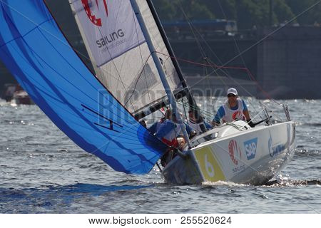 ST. PETERSBURG, RUSSIA - AUGUST 3, 2018: Team from Switzerland compete in Semifinal 2 of Sailing Champions League. 25 sailing teams participate in the competitions