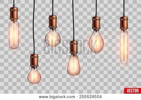 Decorative Retro Design Edison Light Bulb Set. Lamps Of Different Shapes. Vintage And Antique Style