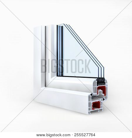 Plastic Window Profile Isolated On White. 3d Rendering