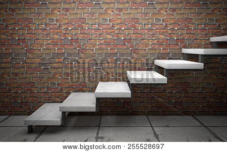 Concrete Stairs On Brick Wall. 3d Rendering
