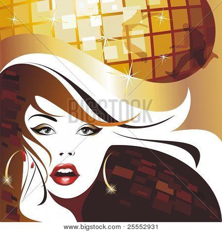 Disco girl. .(vector illustration)