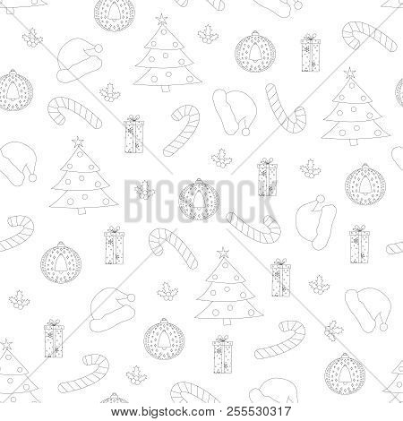 Vector Christmas Seamless Pattern. Seamless Pattern With Christm