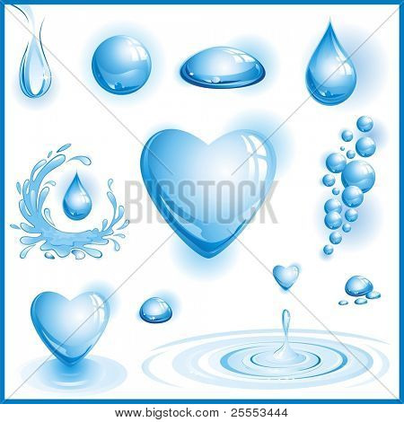 The raster version set of water design elements.