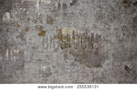 Old Rough Damaged Concrete Wall Texture Background
