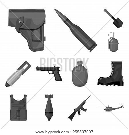 Army And Armament Monochrome Icons In Set Collection For Design. Weapons And Equipment Vector Symbol