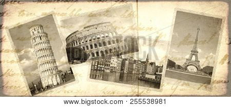Vintage travel background with retro photos of european landmarks. Eiffel tower in Paris, Leaning Tower of Pisa, Colosseum in Rome, old houses in Amsterdam. Old paper texture with postcards