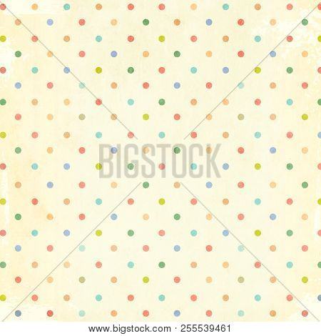 Retro pattern with dots in shabby chic style and paper texture