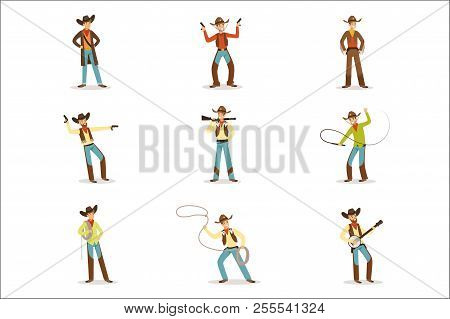 North American Cowboy With Different Accessories Set Of Cartoon Characters, Modern Western Cattle Hu