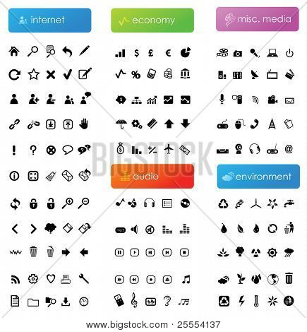 150 vector icons divided into five categories (internet, economy, audio, misc. media and environment)