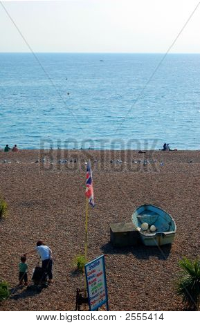 Brighton Beach, With Boat And Cockles Board