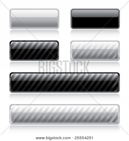 Set of various glossy web buttons in black and white
