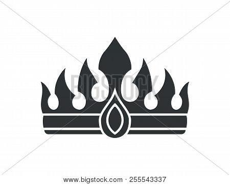 Crown With Gem And Sharp Spires In Gothic Style. Royal Heraldic Headdress Short Thorns. Luxurious Se