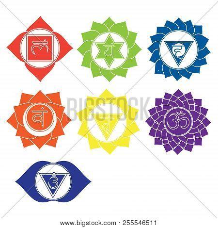 Seven Chakras Icons. Kundalini Yoga Symbols Vector Set Of Spiritual Signs