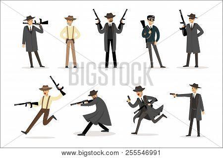 American Mafia Mob Members Of 30s Set Of Cartoon Criminal Mobster Characters