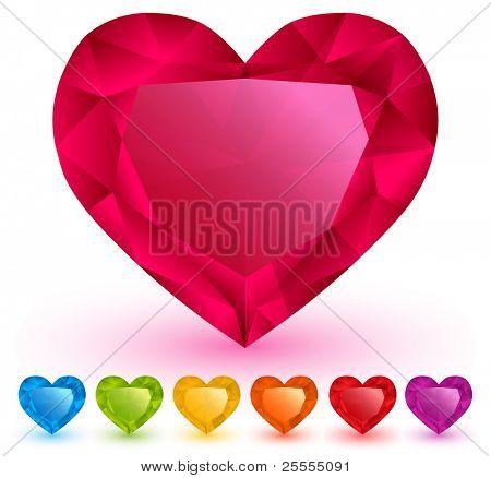 Heart-shaped gemstones set