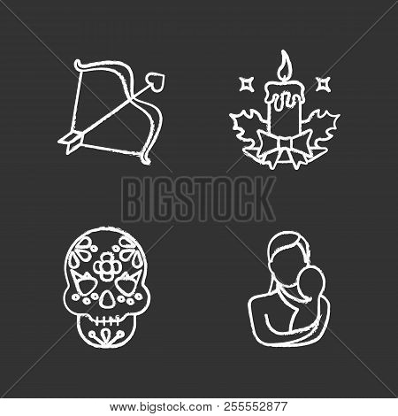 Holidays Chalk Icons Set