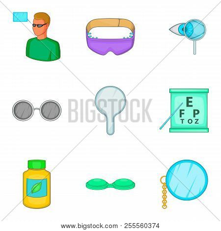 Improve Vision Icons Set. Cartoon Set Of 9 Improve Vision Icons For Web Isolated On White Background