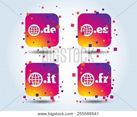 Top-level Internet Domain Icons. De, It, Es And Fr Symbols With Globe. Unique National Dns Names. Co