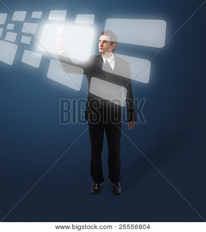 Business man pressing a touchscreen button, futuristic digital technology