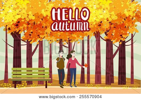 Hello Autumn Color Illustration. Happy Couple Walking In Park Postcard Design. Open Air Outdoor Walk