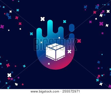 Parcel Box Simple Icon. Logistics Delivery Sign. Package Tracking Symbol. Cool Banner With Icon. Abs