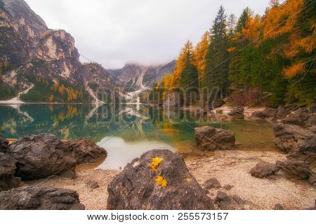 Autumn Scenery Of Lake Braies In Dolomite Alps, Italy