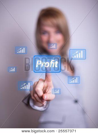 woman hand pressing Profit button
