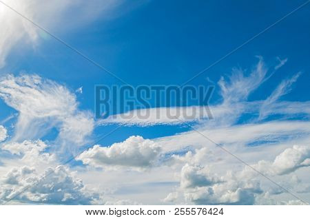 Blue Sky Landscape View With White Dramatic Colorful Clouds And Sunlight. Sky Landscape Scene, Blue