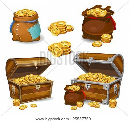 Casino And Game Cartoon 3d Money Icons. Gold Coins In Moneybags And Chests. Game Design Money Items.