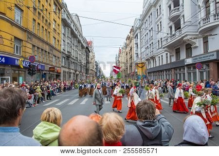 Choral Festival, Singers At Street, National Costume And Culture.