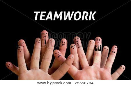 Happy group of finger smileys 3 (teamwork theme)