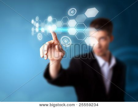 A businessman working on modern technology, selective focus