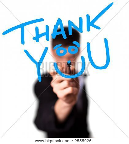Young man writing Thank YOU on whiteboard, selective focus poster
