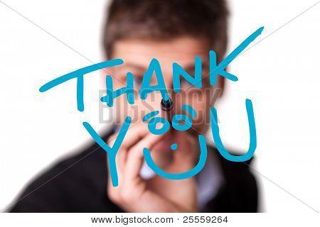 Junger Mann schreiben danke am Whiteboard, Tiefenschärfe