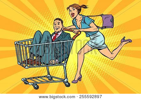Woman With Man In A Shopping Trolley. Pop Art Retro Vector Illustration Vintage Kitsch
