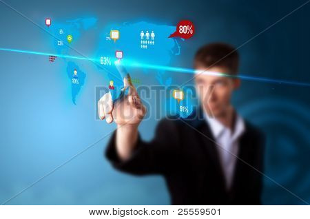 Businessman pressing social media button on digital map, futuristic technology
